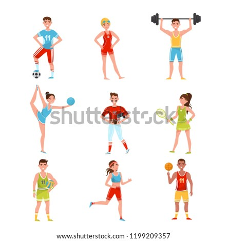 Professional sportsmen set, players in soccer, baseball, basketball, volleyball, tennis and other sports, active sport lifestyle concept vector Illustration