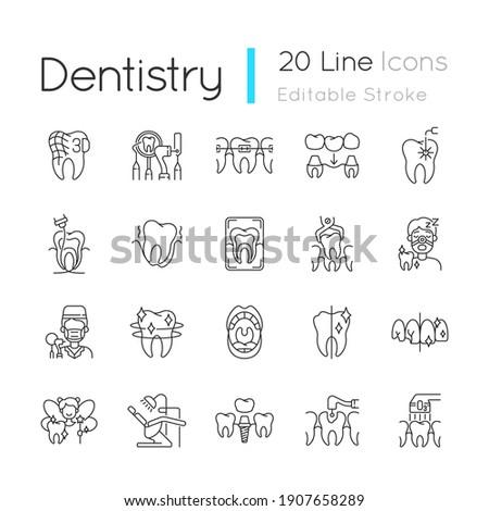 Professional stomatology linear icons set. Dental procedures. Caries treatment. Family orthodontics. Customizable thin line contour symbols. Isolated vector outline illustrations. Editable stroke Photo stock ©