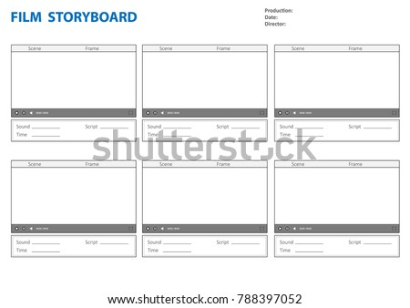 Professional  storyboard. Storyboard template for film story