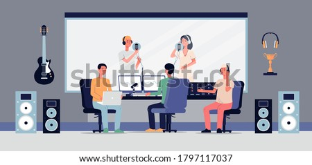 Professional studio for audio, sound or music recording. A music producer listens to singers with microphone. Equipment for production of soundtracks. Vector flat illustration Stock photo ©