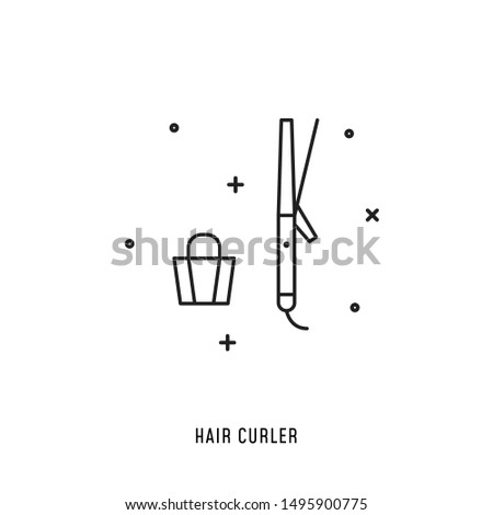 Professional styling and haircut instrument. Vector icon of hairdresser tool in line style. Illustration for web, magazines, apps.