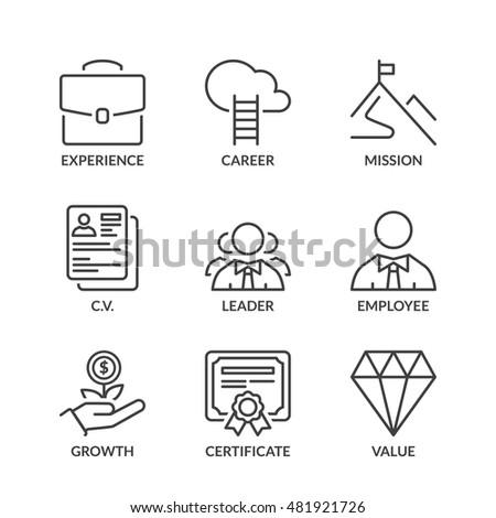 professional success icons set, thin line, black color