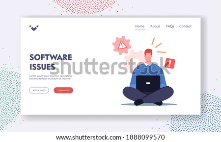Professional Technical Help, Client Support, Software Bug Landing Page Template. Male Character Office Worker Sit with Laptop See System Error Notification on Pc Monitor. Cartoon Vector Illustration