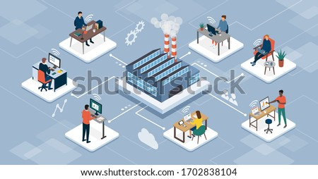 Professional teleworkers connecting with their company industrial production site and working together online, telecommuting and networks concept