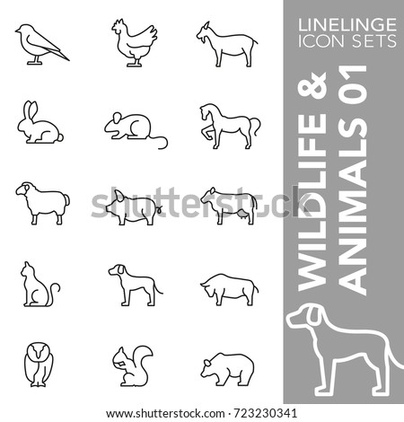 Professional thin line icons of animal, wildlife and pets. Linelinge are the best pictogram pack unique linear design for all dimensions and devices. Vector outline logo symbol and website content