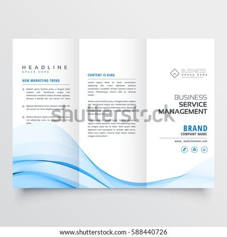 professional tri-fold brochure design with blue wave shape