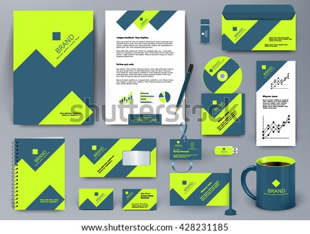 Professional universal branding design kit with green and blue geometry forms like mountain or infographic. Corporate identity template. Business stationery mockup with folder, mug, etc. #428231185