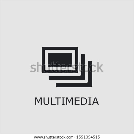 Professional vector multimedia icon. Multimedia symbol that can be used for any platform and purpose. High quality multimedia illustration.