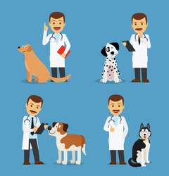 Professional vet doctor with dogs. Veterinarian colored icons on blue background. Vector illustration
