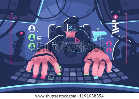 professional virtual reality computer gamer person. Man in vr glasses playing online game on pc. Flat style. Horizontal. Vector illustration.