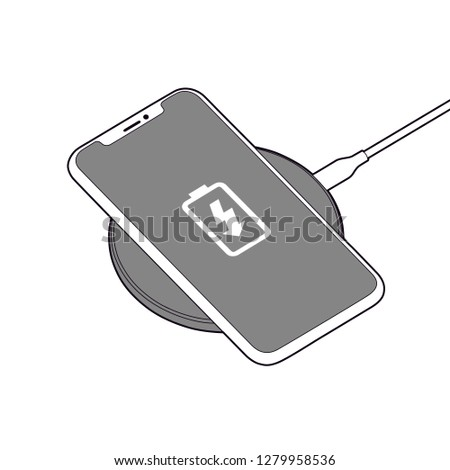 Professional Wireless Charger Vector isolated on clear background.  Perfect for a simple/sleek look in any Graphic design, instructions, logos, promotional material, web and more!