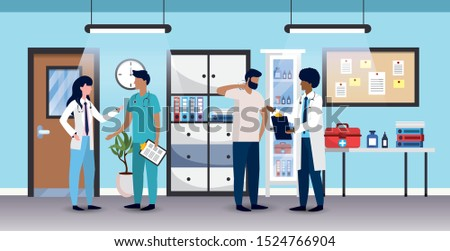 professional woman and men with patient diagnosis vector illustration