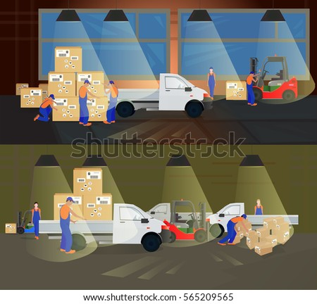 Professional workers in the warehouse to ship the goods to the machine. A series of design compositions on marketing theme. Services Marketing. Vector illustration