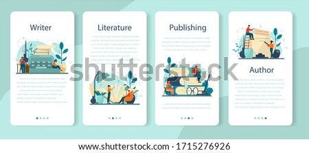 Professional writer, literature mobile application banner set. Idea of creative people and profession. Author writing script of a novel. Isolated vector illustration in flat style Foto d'archivio ©