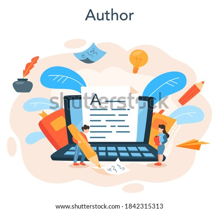 Professional writer or journalist concept illustration. Idea of creative people and profession. Author writing script of a novel. Isolated vector illustration in flat style Foto stock ©