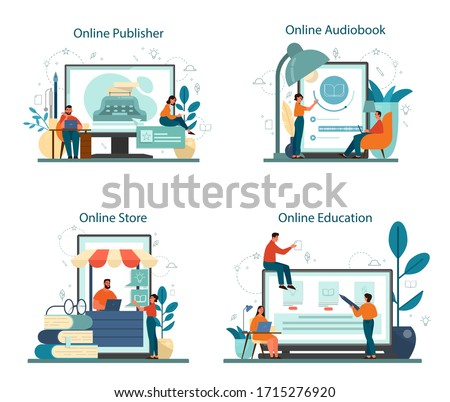 Professional writer or journalist online service or platform on differernt device concept set. Online publisher and course. Book store and audiobook platform. Isolated vector illustration Photo stock ©