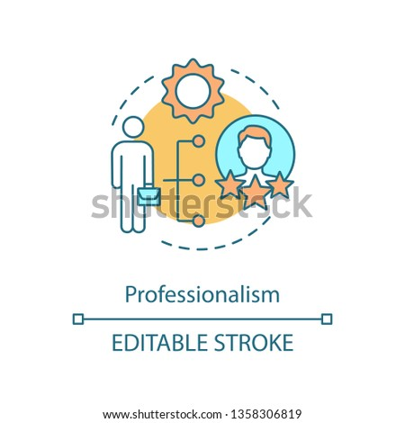 Professionalism concept icon. Competence. Best worker. Employee abilities and skills. Professional qualities idea thin line illustration. Vector isolated outline drawing. Editable stroke