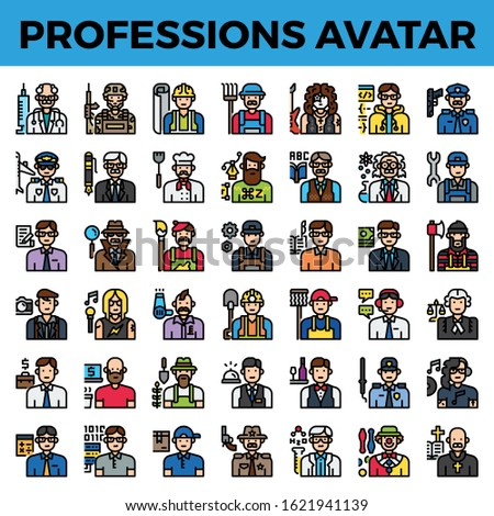 Professions and occupation avatar. Pixel perfect filled outline icon. Vector illustration