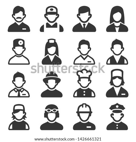 Professions Avatars Set on White Background. Vector