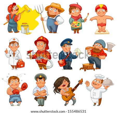 Professions. Builder, painter, rocker, woodcutter, swimmer, cook, farmer, postman, policeman, boxer, doctor, fireman. Vector illustration. Isolated on white background. Set