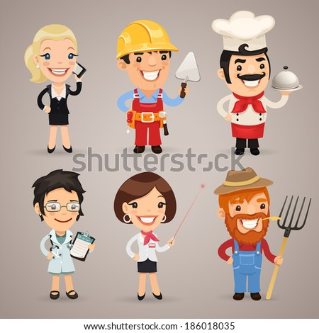 Professions Cartoon Characters Set1.2 In the EPS file each element is grouped separately