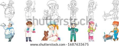 Professions. Cartoon clipart set for kids activity coloring book, t shirt print, icon, logo, label, patch or sticker. Vector illustration. Сток-фото ©