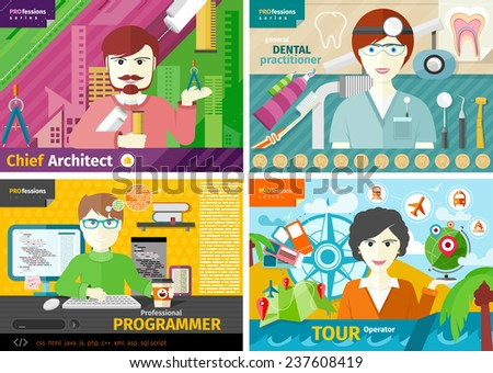 Professions concept with female travel agent, engineer architect constructor worker, dentist in uniform, male computer programmer flat design