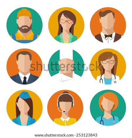 Professions flat vector characters