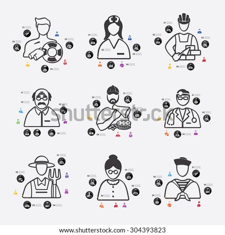 professions line infographic illustration. Fully editable vector file