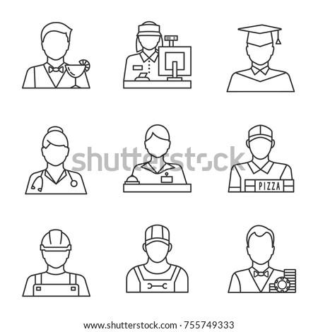 Professions linear icons set. Barman, cashier, graduate student, doctor, receptionist, pizza deliveryman, builder, croupier. Thin line contour symbols. Isolated vector outline illustrations