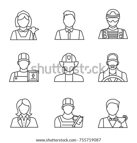 Professions linear icons set. Occupations. Maid, barman, office worker, soldier, loader man, firefighter, driver, secretary, cleaner. Thin line contour symbols. Isolated vector outline illustrations