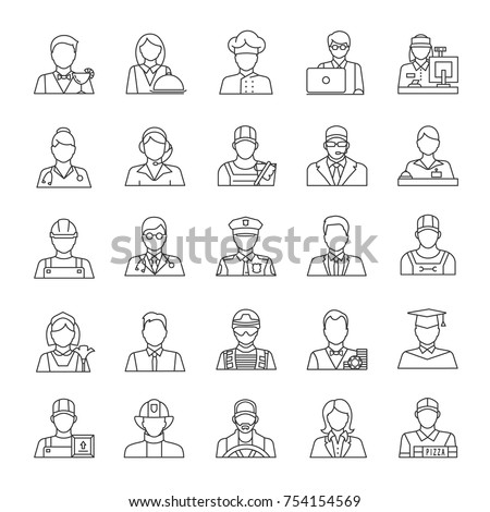 Professions linear icons set. Occupations. Workers. Thin line contour symbols. Isolated vector outline illustrations. Editable stroke