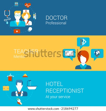 Professions people and professional tools concept flat icons set of doctor teacher hotel receptionist and vector web illustration website click infographics elements collection