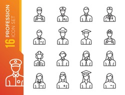 Professions vector line icons set. Human characters, avatars. Cook, doctor, policeman, nurse, fireman, worker. Editable stroke.