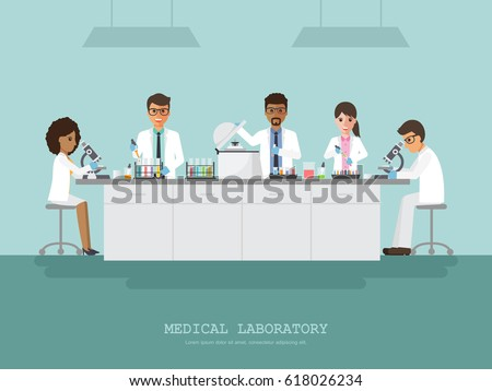 Professor, doctor, scientist and science technician doing research and analysis in medical science laboratory. Vector illustration of flat design people cartoon character.
