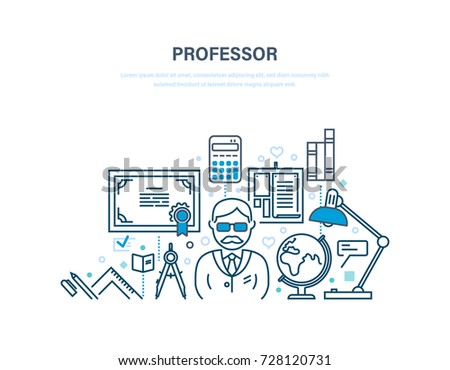 Professor, education concept. Training, distance learning, technology, knowledge, teaching and skills. Teaching on lesson in classroom. Illustration thin line design of vector doodles.