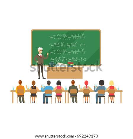 professor near the blackboard