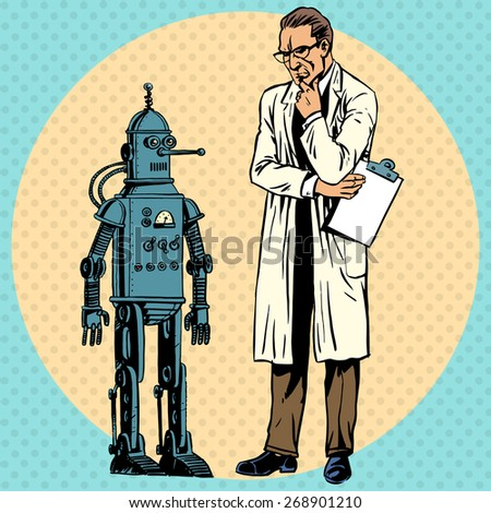 professor scientist and a robot