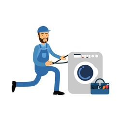 Proffesional plumber character installing washing machine, plumbing service vector Illustration