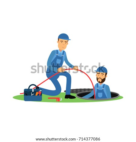 Proffesional plumber characters working at sewer manhole, plumbing service vector Illustration
