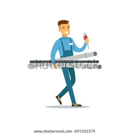 Proffesional plumber man character walking with pipes and monkey wrench, plumbing work vector Illustration