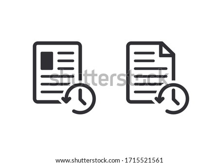 Profile history. Document history. Profile icon. Document icon. Paper icon. History icon. History line. Vector timer. Countdown time. Clock sign. Survey. Check Mark sign. Worksheet sign. Data