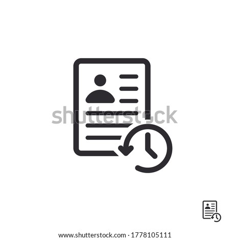 Profile history. Document history. Profile icon. Document icon. Paper icon. History icon. History line. Vector timer. Countdown time. Clock sign. Id card. Turn the time. Application form. Personal