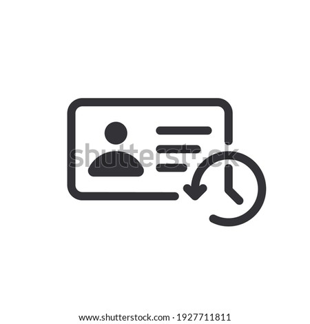 Profile history. Document history. Profile icon. Document icon. Paper icon. History icon. History line. Vector timer. Countdown time. Clock sign. Survey. Check Mark sign. Worksheet sign. Id card.