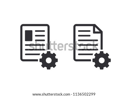 Profile icon. Document icon. Profile setup. Settings system file. Document setup. Paper icon. Vector icons. Color easy to edit. Transparent background.