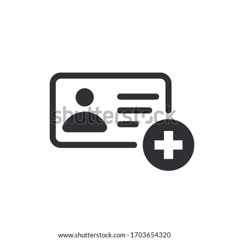 Profile icon. Id card. Personal document. Identification card icon. Medical card. Medical record. Doctor id. Medical personnel.