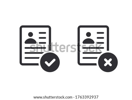 Profile icon. Id card. Personal document. Reject file. Accept document. Approved, document icon. Profile approved. Questionnaire sign. Symbols YES and NO. Application form. Office documents. Report.