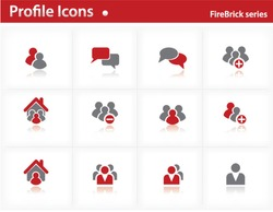 Profile icons set - Firebrick Series Set 1