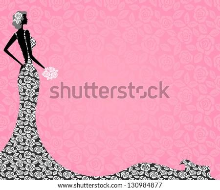 profile of a beautiful bride in