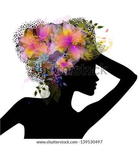 Profile of a girl with flowers on her head